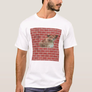 Lion in a brick wall t-shirt