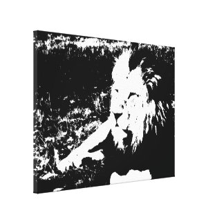 Lion in Black and White Canvas Print
