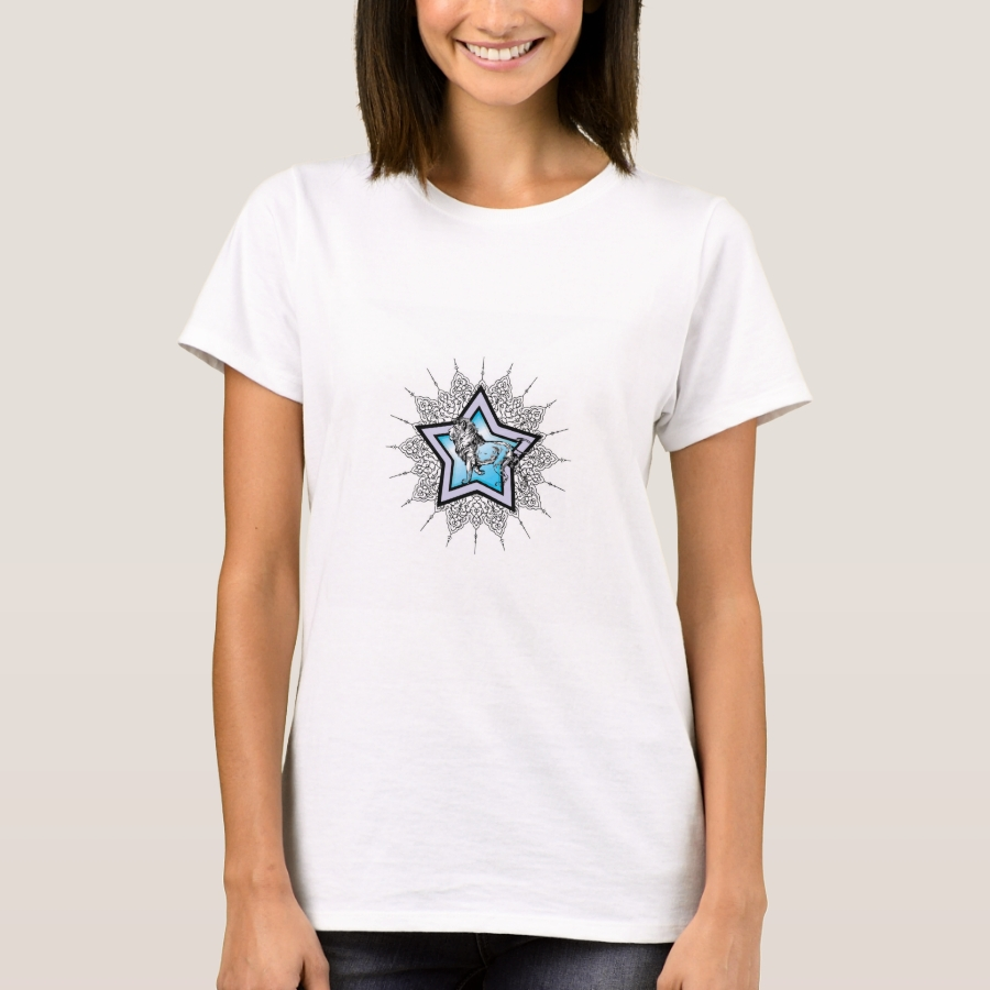 Lion in blue star T-Shirt - Best Selling Long-Sleeve Street Fashion Shirt Designs