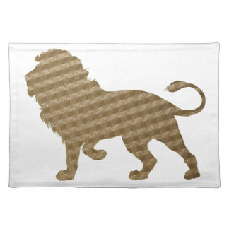Lion in Brown Squares Cloth Placemat