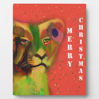Lion in Christmas Plaque