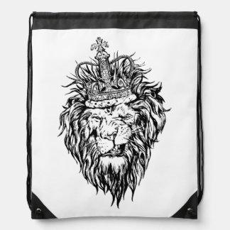Lion in crown drawstring bag