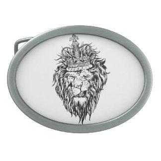 Lion in crown oval belt buckle