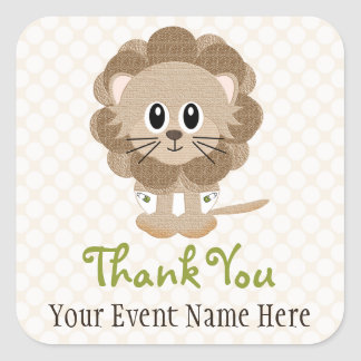 Lion in Diapers Favor Label Stickers