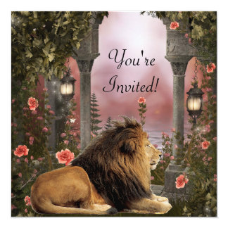 Lion in Enchanted Floral Garden Event Invite