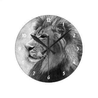 Lion in Graphite Round Clock