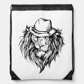 Lion in hat drawstring backpack