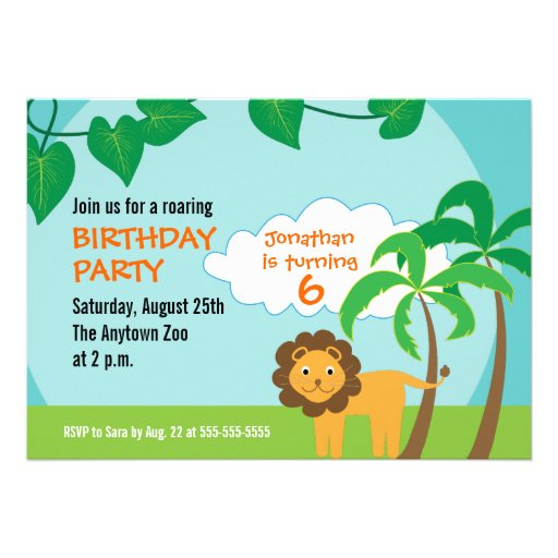 Lion in Jungle, Childs Birthday Party Announcements