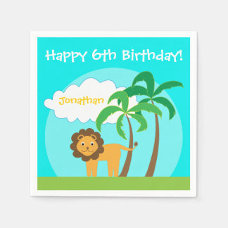 Lion in Jungle, Childs Birthday Party Paper Napkin