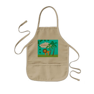 Lion in Jungle with Palm Trees Personalized Kids' Apron