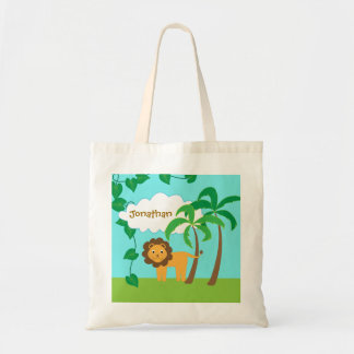 Lion in Jungle with Palm Trees Personalized Canvas Bags
