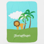 Lion in Jungle with Palm Trees Personalized Swaddle Blanket