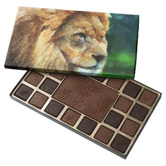 Lion In Nature Impressionist Art 45 Piece Box Of Chocolates