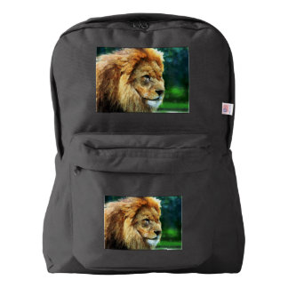 Lion In Nature Impressionist Art American Apparel™ Backpack
