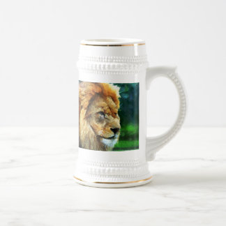 Lion In Nature Impressionist Art Beer Stein