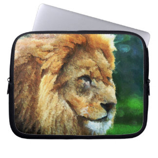 Lion In Nature Impressionist Art Computer Sleeve