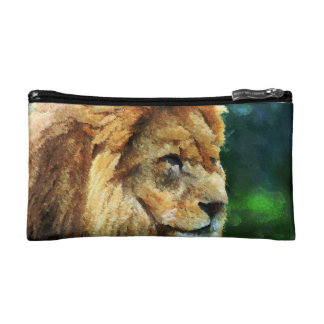 Lion In Nature Impressionist Art Cosmetic Bag