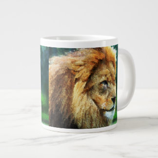 Lion In Nature Impressionist Art Giant Coffee Mug