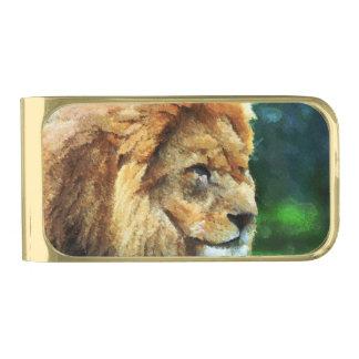 Lion In Nature Impressionist Art Gold Finish Money Clip