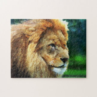 Lion In Nature Impressionist Art Jigsaw Puzzle