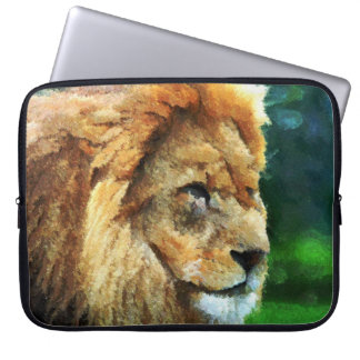 Lion In Nature Impressionist Art Laptop Sleeves