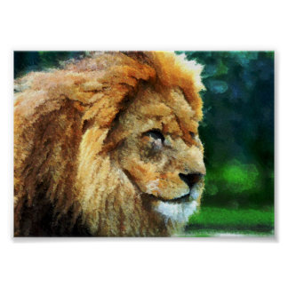 Lion In Nature Impressionist Art Poster