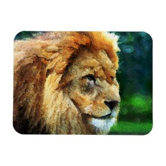 Lion In Nature Impressionist Art Rectangular Photo Magnet