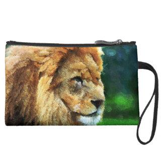 Lion In Nature Impressionist Art Suede Wristlet Wallet