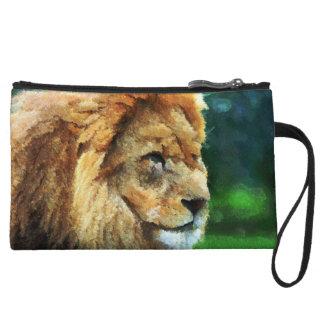 Lion In Nature Impressionist Art Wristlet