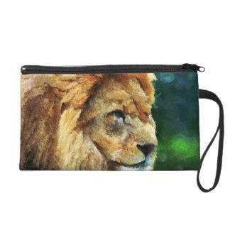 Lion In Nature Impressionist Art Wristlet Purse
