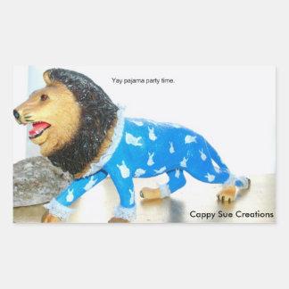 Lion in Pajamas Rectangular Sticker