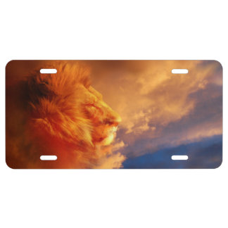 Lion in sunset clouds license plate
