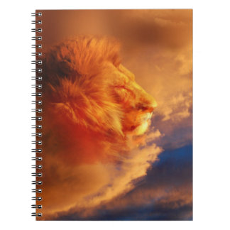 Lion in sunset clouds note books