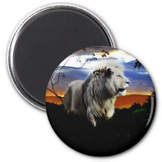 Lion in the jungle 2 inch round magnet