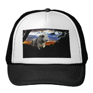 Lion in the jungle trucker hat