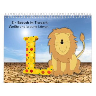 Lion in the zoo calendar