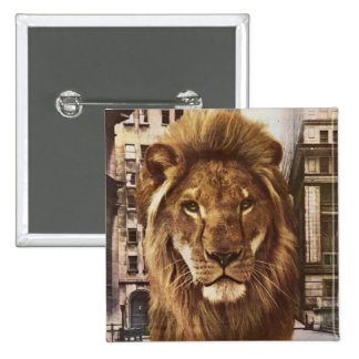 lion in town pinback button
