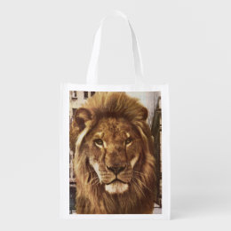 lion in town reusable grocery bag