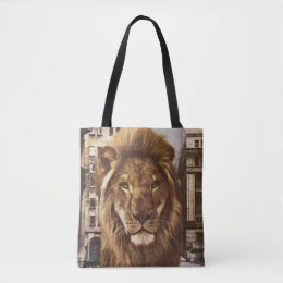 lion in town tote bag