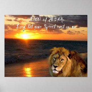 Lion Judah Greeting Inspirational Religious Poster
