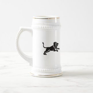 Lion Jumping Silhouette Side Retro Beer Stein