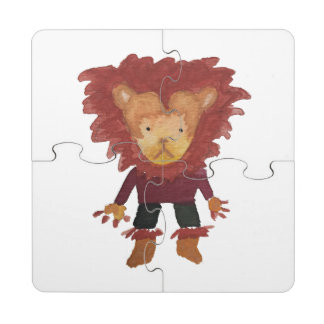 Lion Jungle Friends Baby Animal Water Color Puzzle Coaster