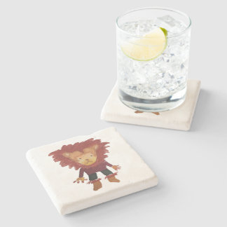 Lion Jungle Friends Baby Animal Water Color Stone Coaster