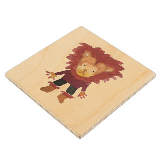 Lion Jungle Friends Baby Animal Water Color Wooden Coaster