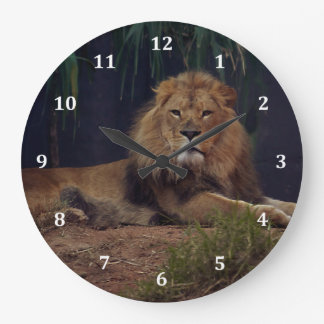 Lion Keeping Watch Over His Pride Large Clock