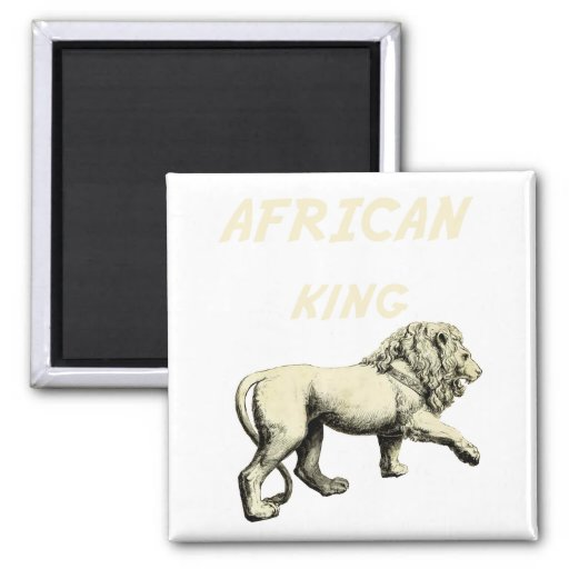 Lion King African King Africa Art 2 Inch Square Magnet
