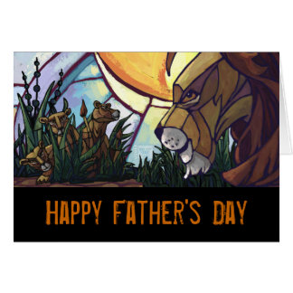Lion King and Cubs Happy Father's Day Card