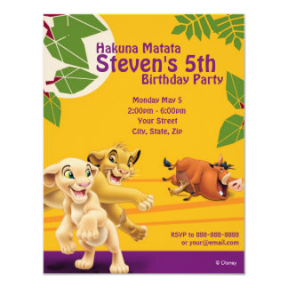 Lion King Birthday Invitation Announcements