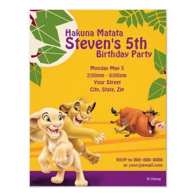 Lion King Birthday Invitation 4.25