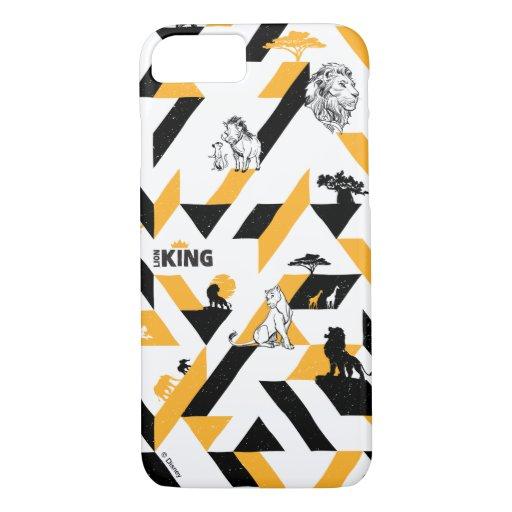 Lion King | Black & Gold Geometric Pattern iPhone 8/7 Case